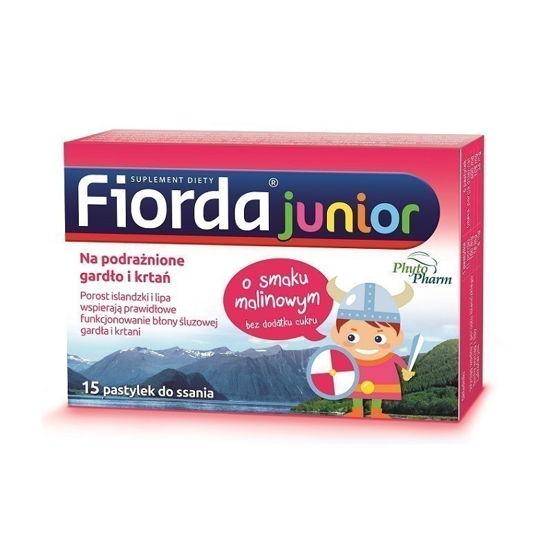 Fiorda Junior Pastylko do ssania o smaku malinowym 15 szt.