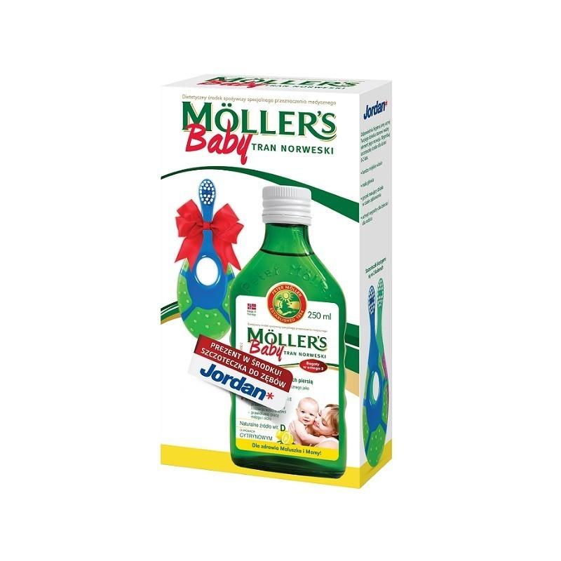 Mollers Baby Tran Norweski Cytrynowy +  Szczoteczka Jordan