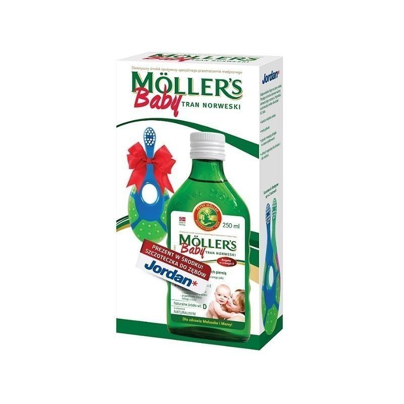 Mollers Baby Tran Norweski Naturalny 250 ml + Szczoteczka Gratis