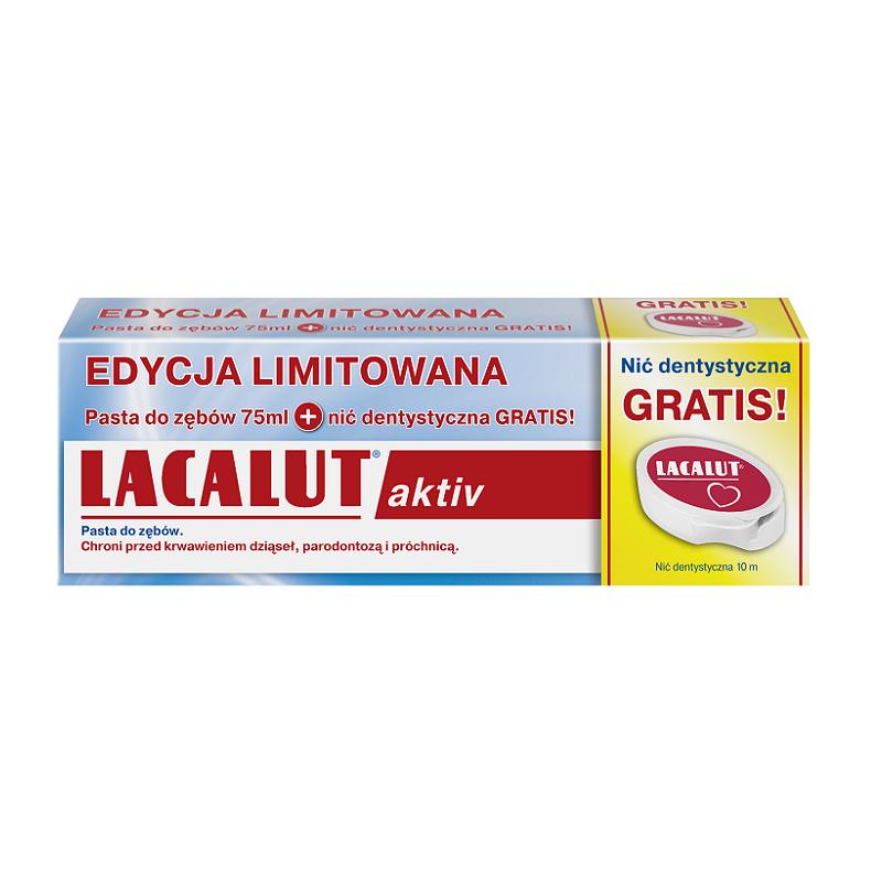 Lacalut Aktiv Pasta do zębów 75 ml + Nić dentystyczna Gratis