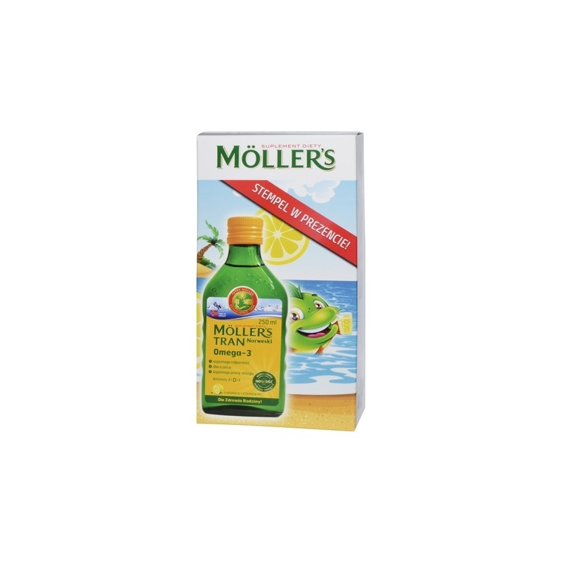 Mollers Tran Norweski Cytrynowy 250 ml + Gratis Stempelek