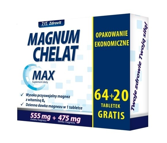 Zdrovit Magnum Chelat Max 64+20 Tabletek Gratis