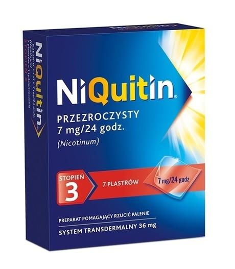 NiQuitin 7 mg / 24h 7 Plastrów Przezroczystych