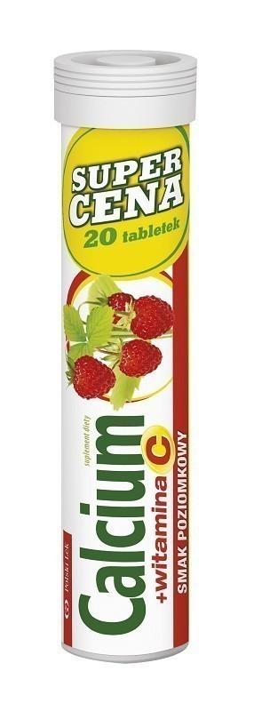 Calcium + Witamina C Tabletki Musujące (smak poziomkowy)