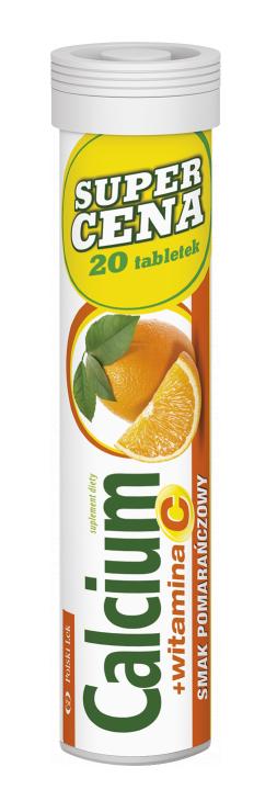 Calcium + Witamina C - tabletki musujące, smak pomarańczowy