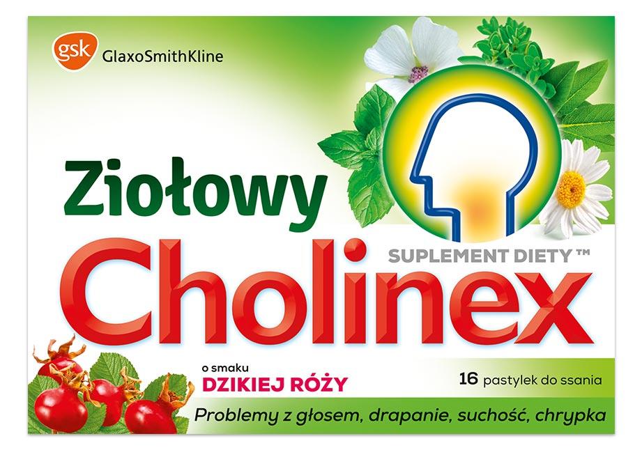 Cholinex Ziołowy pastylki do ssania o smaku dzikiej róży