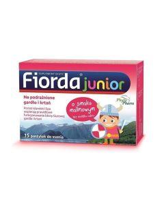 Fiorda Junior Pastylki do ssania o smaku malinowym 15 szt.