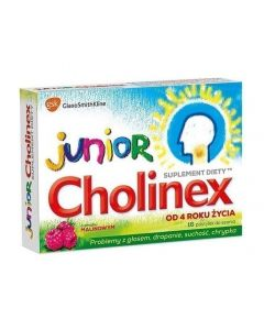 Cholinex Junior 16 Pastylek do ssania o smaku malinowym