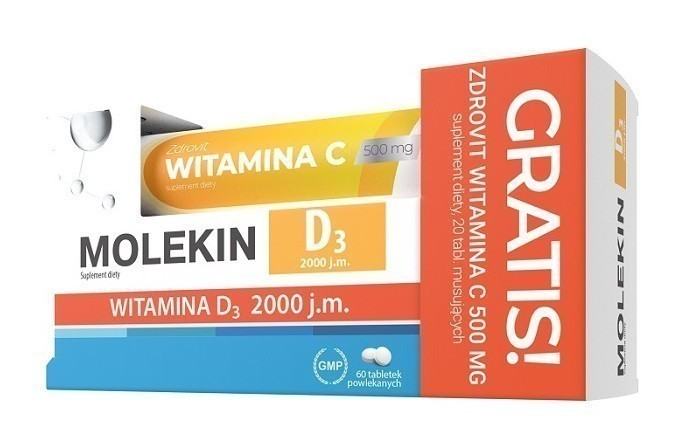 Molekin D3 2000 j.m. 60 Tabletek + Wit.C 500 mg Gratis