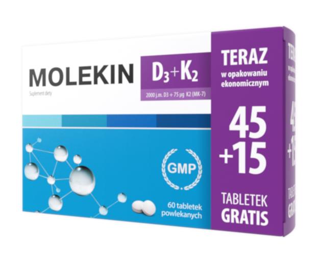 Molekin D3+K2 45+15 Tabletek Gratis