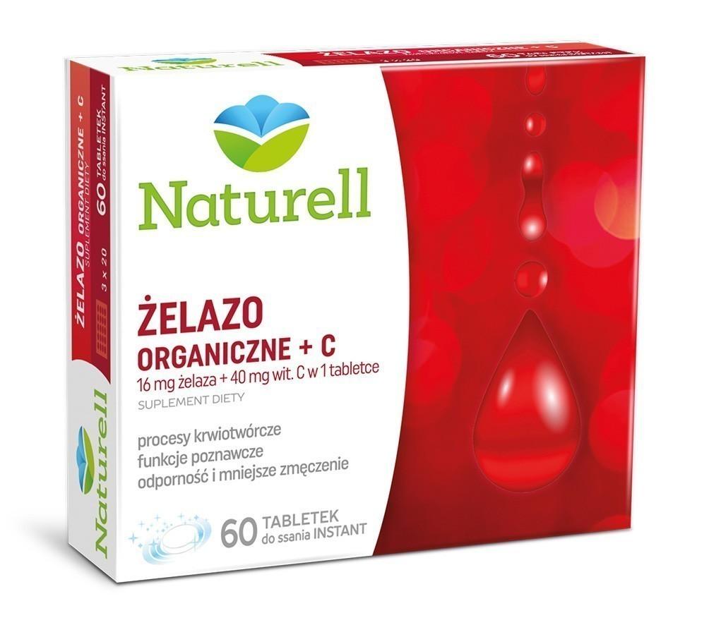 Naturell Żelazo Organiczne z Wit.C 60 Tabletek Instant