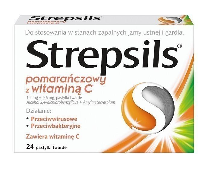 Strepsils Pomarańczowy z Witaminą C 24 Pastylki