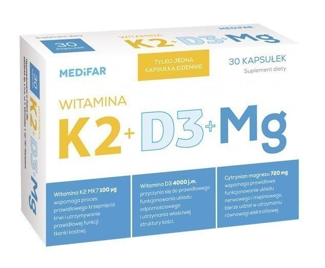 Witamina K2 + D3 30 Kapsułek