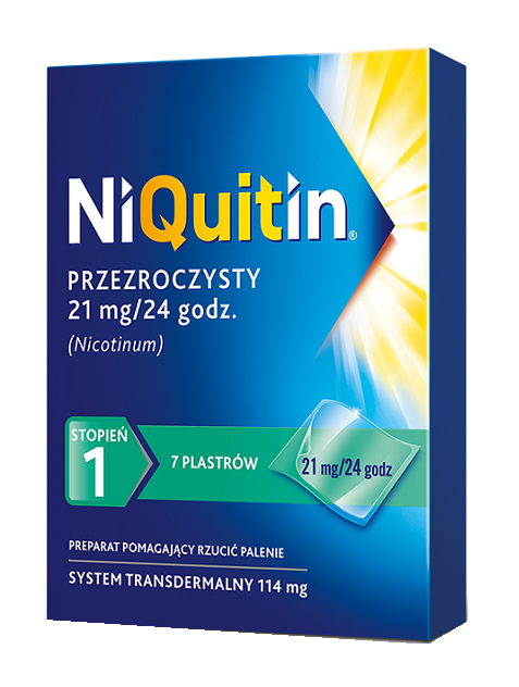 NiQuitin 21 mg / 24h 7 Plastrów Przezroczystych